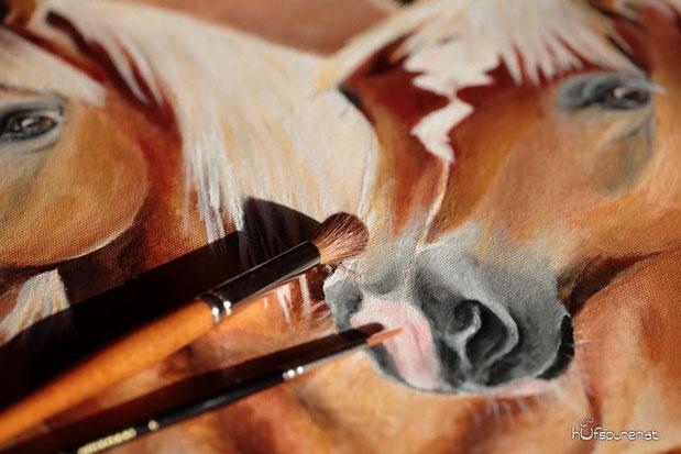 Pferde malen oder zeichnen lassen, Pferdegemälde, Haflinger