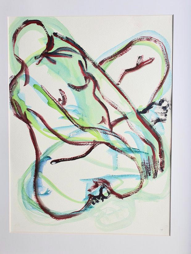 Schneidersitz schräg            Aquarell von Maya Franzen    www.kunst-werk-niederbayern.com