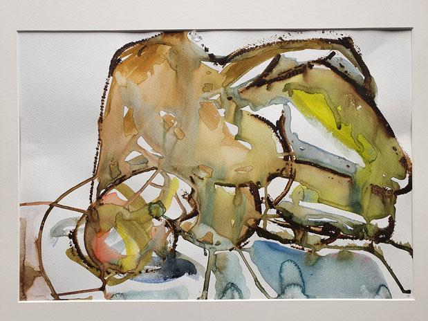 Liegende  Aquarell         von Maya Franzen        Vollholzrahmen weiß  70 x 50 cm;     kunst-werk-niederbayern.com