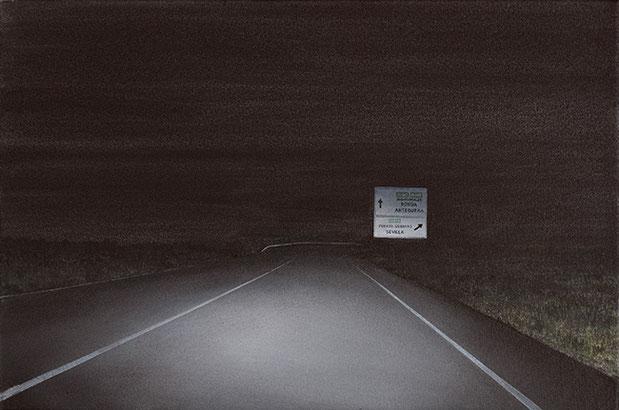 STRASSE, NACHT (A-384) | 2017 | Arcyl auf Nessel | 32 × 48 cm