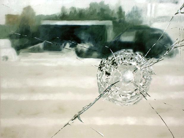 MITTEN IM IRGENDWO – RELOCATION | 2017 | Öl auf Nessel | 90 × 120 cm