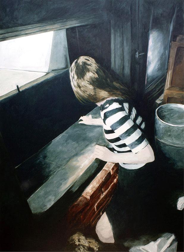 MITTEN IM IRGENDWO – JUDY | 2017 | Öl auf Nessel | 195 × 140 cm