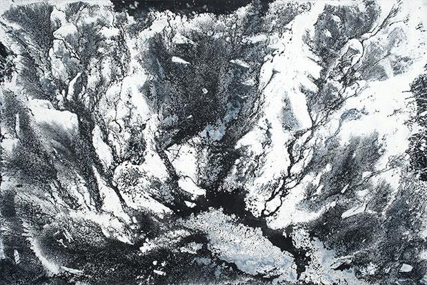 QUANTENSCHAUM (SCHWARZWASSER-SCHLUCHT) 2015 | Öl und Acryl auf Leinwand | 200 × 300 cm