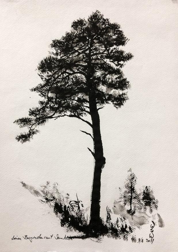 Winterimpression, Mischtechnik auf Farbkarton 24x34 cm