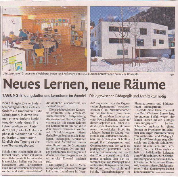 Artikel in der Dolomiten vom 15.12.2014