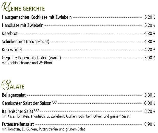 Kleine Gerichte und Salate - Kelterschänke Elsenfeld