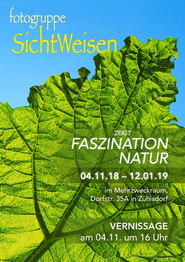 Plakat der Ausstellung der Fotogruppe SichtWeisen im Zühlsdorfer Mehrzweckraum