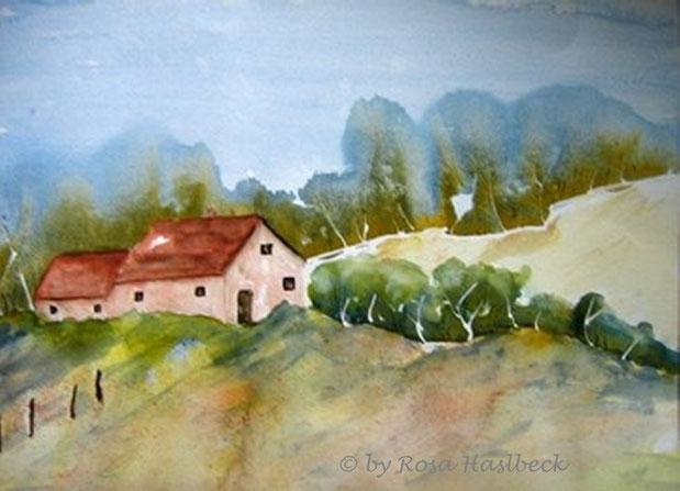 aquarell, landschaft, landschaftsaquarell, haus, bäume, blau, grün, rot, braun, bild, kunst, bilder, malerei, malen, deko, dekoration, wandbilder, wand, geschenkidee, geschenke,malen, malerei, handgemalt,