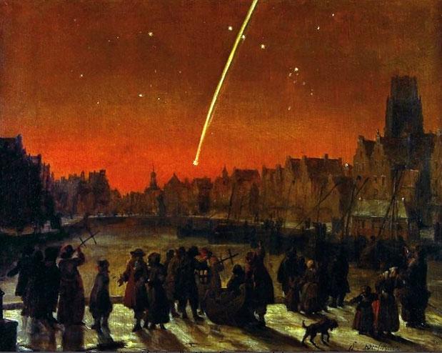 La Grande Cometa del 1680 su Rotterdam in un dipinto di Lieve Verschuier