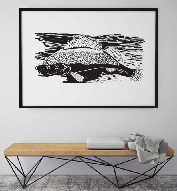 Grafik Poster | Illustrationen | Poster mit Fisch | Zeichnungen