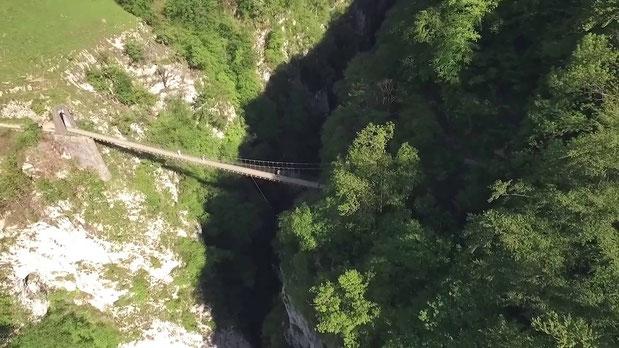 Holzarte, un pont de singe impressionnant qui traverse la canopée pyrénéenne