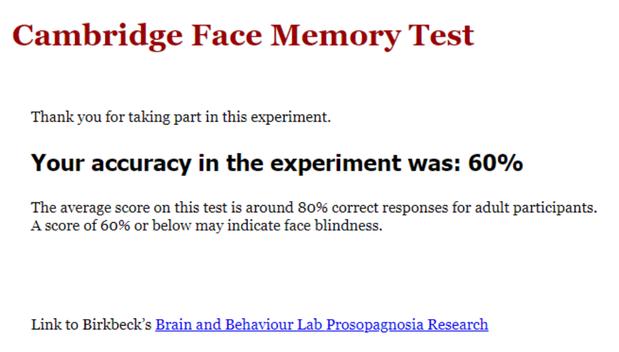 Mein Ergebnis beim Gesichterkennungstest: 60 %