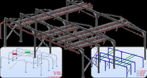 Calculs d'une charpente métallique suivant norme EUROCODE 3