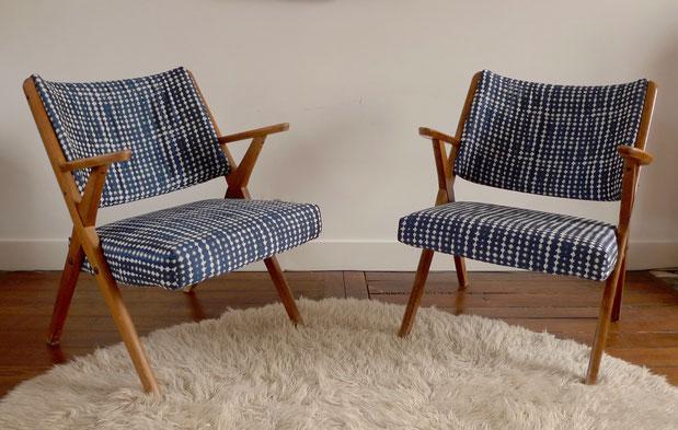 JOLI, fauteuils années 60, fauteuils vintage, fauteuil bleu