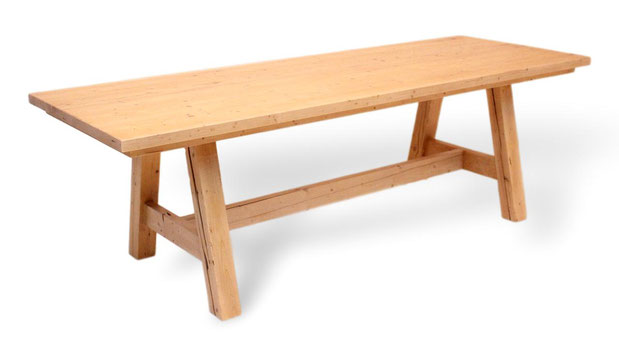 großer Esstisch aus Fichte, Altholz.