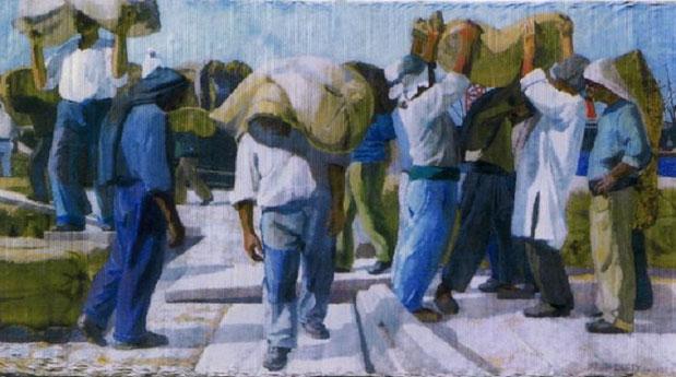 1922. LE DEBARQUEMENT DES ARACHIDES huile sur toile 230 X 435cm. Collection MUSEE D'HISTOIRE DE MARSEILLE.