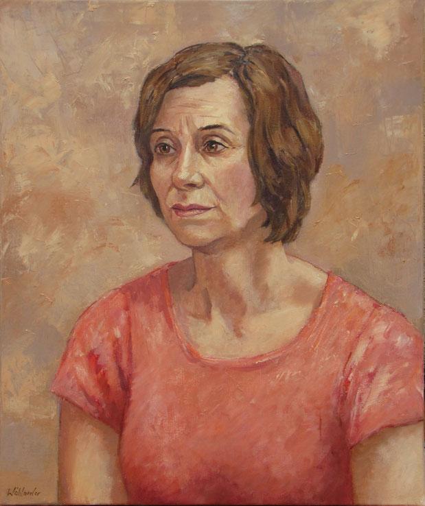 Tony Wahlander, le portrait d'une femme d'une quarantaine d'année, cheveu court, elle s'appelle Joëlle, porte un chemisier rose.