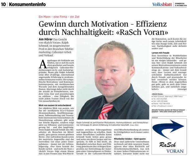 Pressebericht Volksblatt Oktober 2014
