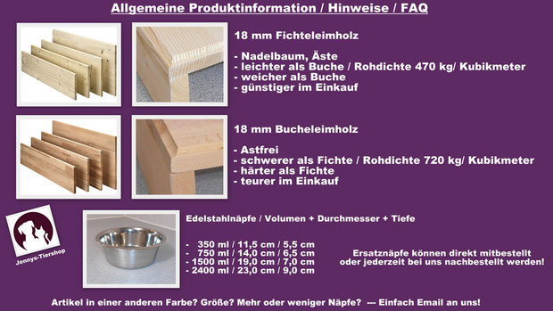 Information zu unseren Holzsorgen. Futterbar Fressbar Napfhalter