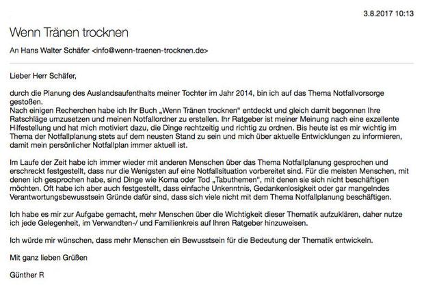 """Bilder der E-Mail von Günther R. an """"Wenn Tränen trocknen"""""""