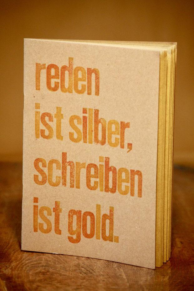 """Heft """"reden"""" // DIN A5 // 20 Blatt // gold-gelbes Papier 120 g/qm // 8 €"""