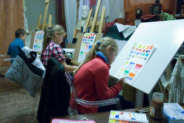 Знакомство с акварельными красками