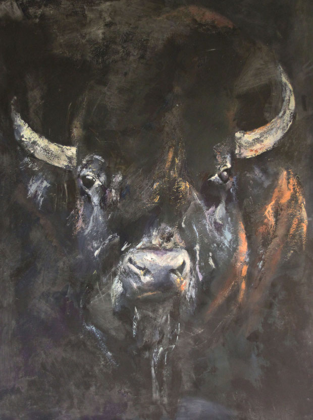 Dark Buffalo, Mischtechnik auf Leinwand 140x120