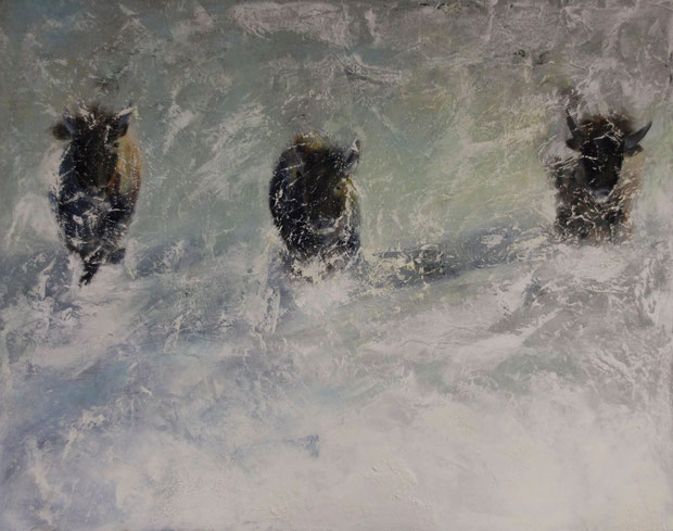 Running Buffalos, Mischtechnik auf Leinwand, 60x80 Verkauft
