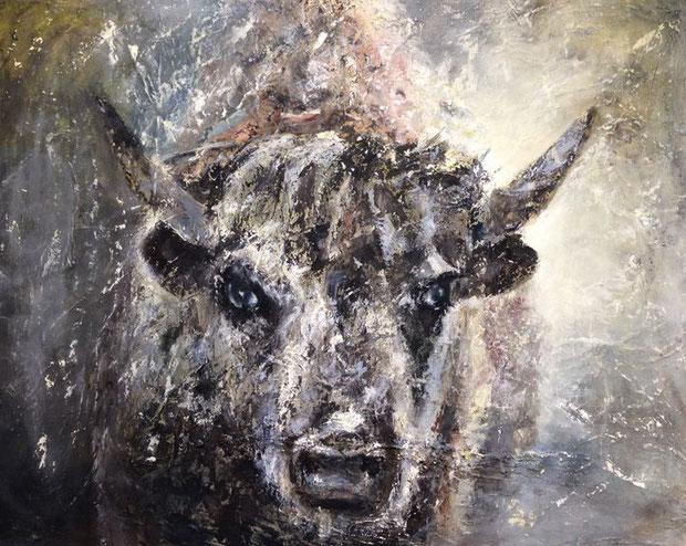 Buffalo Eitempera auf Leinwand 60x80 Verkauft
