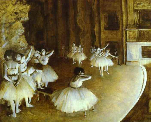 Edgar Degas - Ballet Rehearsal on Stage, Oil on canvas