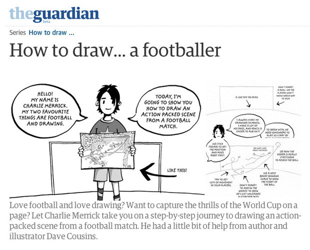 Dave Cousins How to draw a footballer from the Guardian Childrens Books