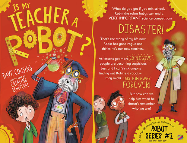 Is My Teacher a Robot? by Dave Cousins. Front cover and blurb.