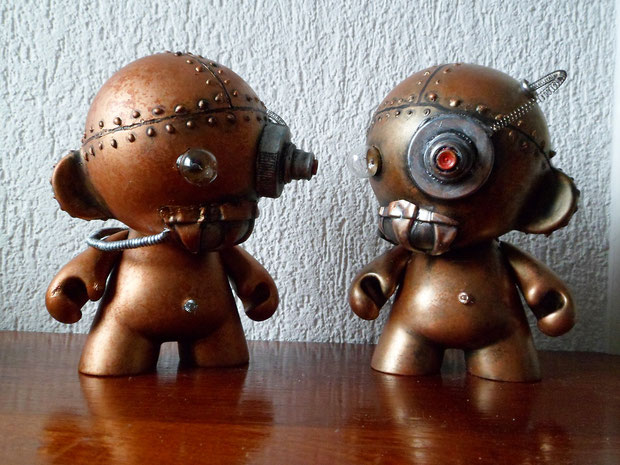 munny kidrobot steampunk rusty robot copper