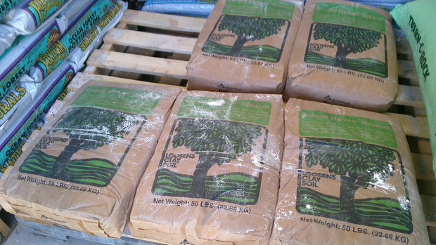 Bags of gypsum at our nursery