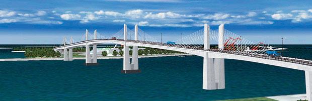 小名浜港と小名浜東港をつなぐブリッジ。観光名所になることへの期待もあるようだが、、、。