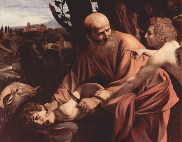 Der Engel Jahwes hielt Abraham aus dem Himmel davon ab, dessen Sohn zu opfern. https://www.freudenbotschaft.net/gleichnisse/das-biblische-gleichnis-vom-geopferten-lachen-gottes/
