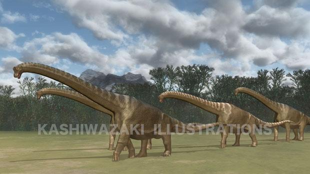 ブラキオサウルスの群れ移動