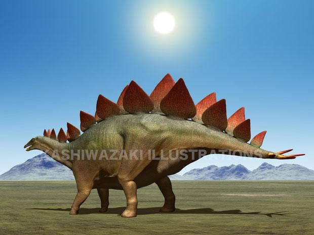 日を受けるステゴサウルスの盾