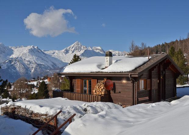 chalet, dunja, winter, sneeuw, Bürchen, Wallis, Zwitserland, vakantie, skiën, vakantiehuis,