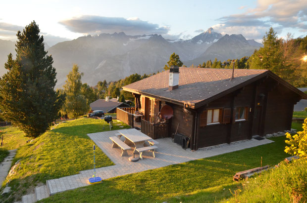 Avondstemming, huisje, dunja, zon, wandelen, bergen, vakantie, zomer, Zwitserland, wallis