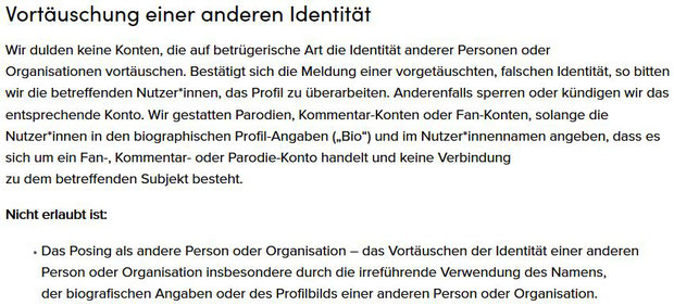 TikTok Fake-Account/Profil Vortäuschung einer anderen Identität