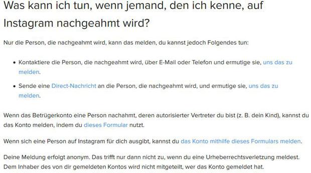 Wie kann ich ein Fake Profil Account Konta auf instagram melden - Rechtsanwalt Sven Nelke