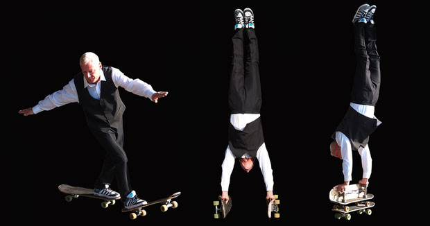 Eddie Haak. Tricks: Two-Board-Wheelie. Two-Board-Handstand. Three-Board-Handstand.