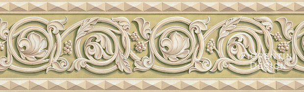Scrolls, Medieval Wallpaper Border by Irma Fiorentini - Fiorentini Design, Classical Murals, Wallpaper Borders