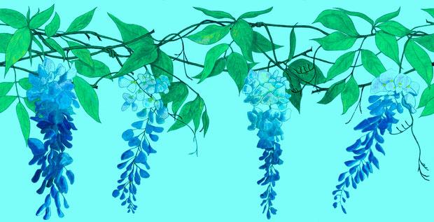 Wisteria in Blue, Contemporary Wallpaper Border by www.FiorentiniDesign.com