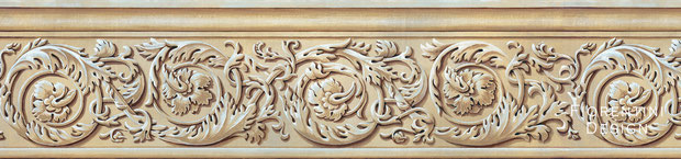 Acanthus, Classical Wallpaper Border by Irma Fiorentini - Fiorentini Design, Classical Murals, Wallpaper Borders