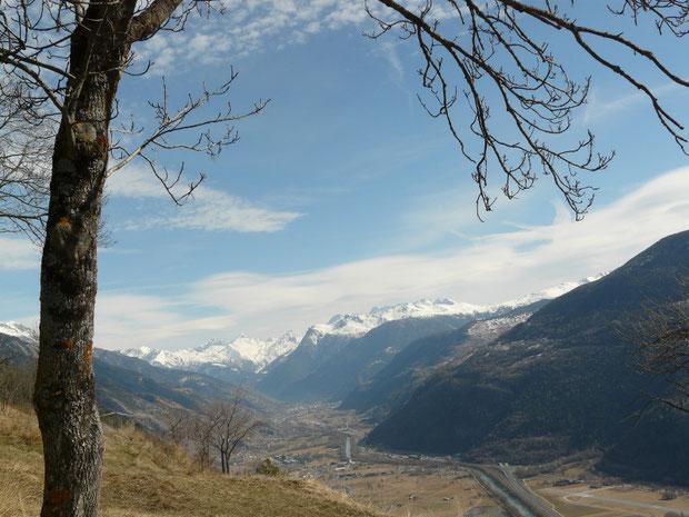 Blick im Frühling von der Felsensteppe unterhalb Erschmatt talaufwärts