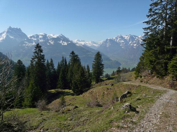 Blick vom Wanderweg nach Unterchäseren ins Tal hinunter