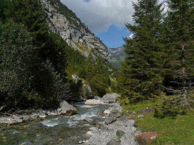 Der Fluss Hinterschächen abwärts gesehen.