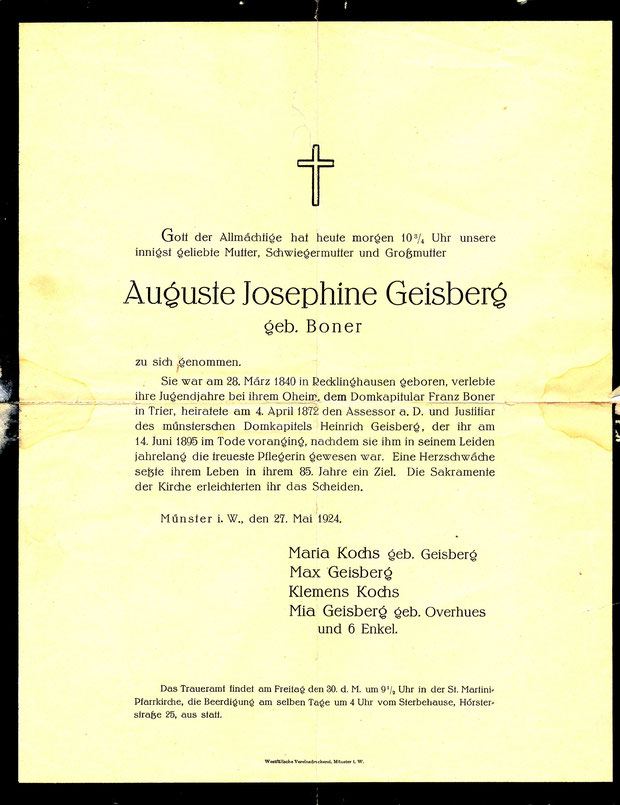 Todesanzeige der Mutter Auguste Geisberg